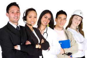 Business professionals in different career